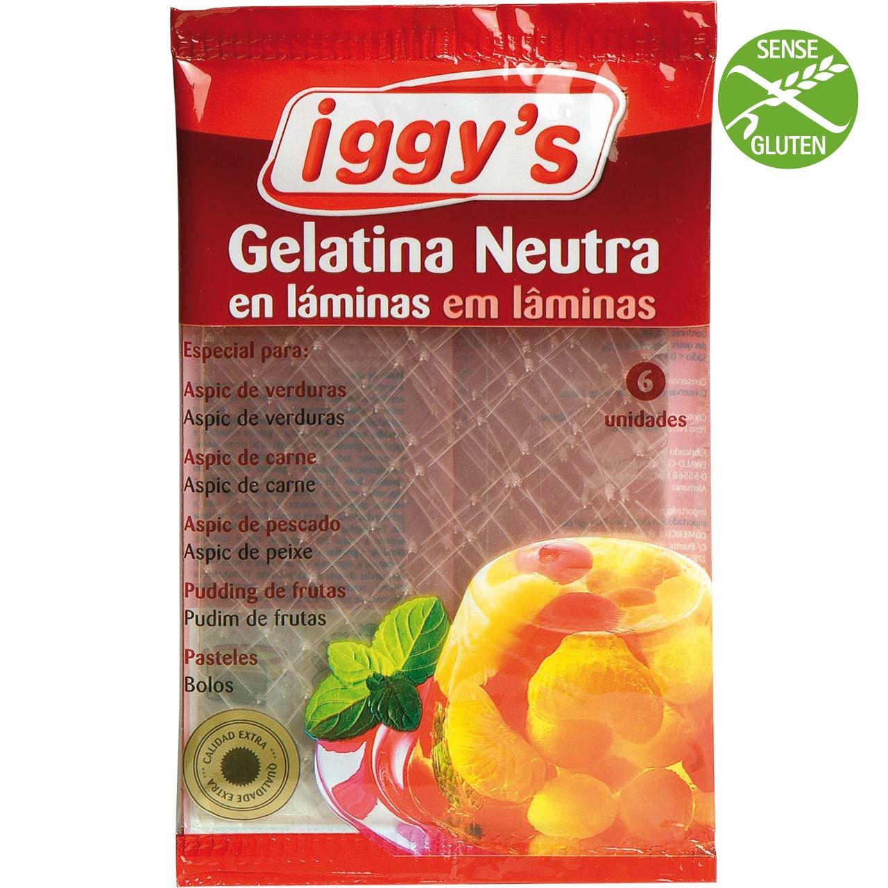 Iggy's gelatina neutra 6 llamines 10g.